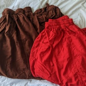Lot of genie pants (upto XXL) Red and Brown